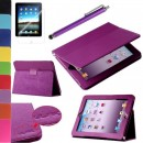 Pandamimi ULAK Purple PU Folio Leather Case Cover with Built-in Stand for Apple iPad 1 1st Generation + Screen Protector + Purple Stylus